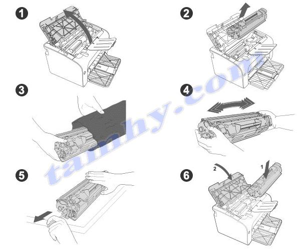 Cách thay thế mực in hp 85A