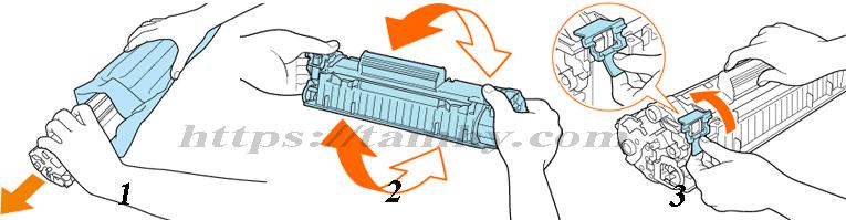 Hướng dẫn thay Hộp Mực máy in Canon 3018 Tương thích