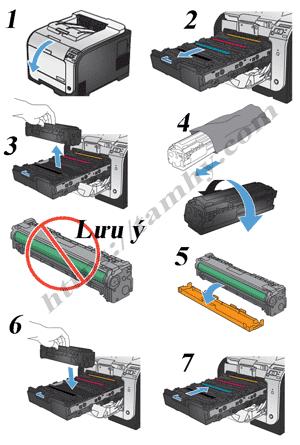 Cách thay thế Hộp mực máy in HP Pro M451 Black