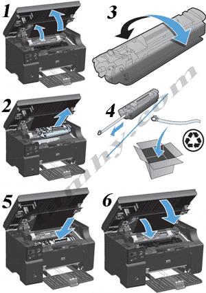 Cách thay hộp mực máy in Hp M1212NF