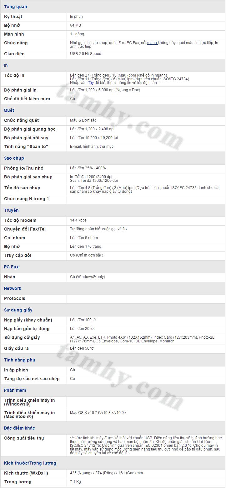 Thông số kỹ thuật máy in phun brother mfc t800