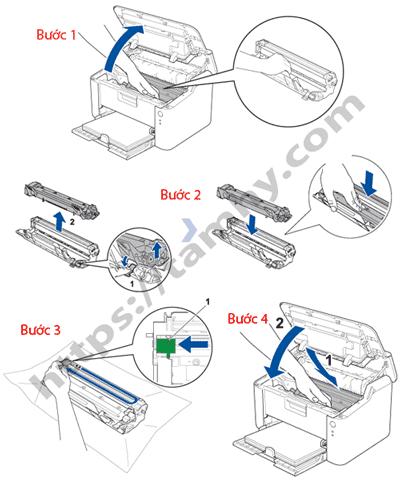 Cách thay Mực máy in Brother HL 1201