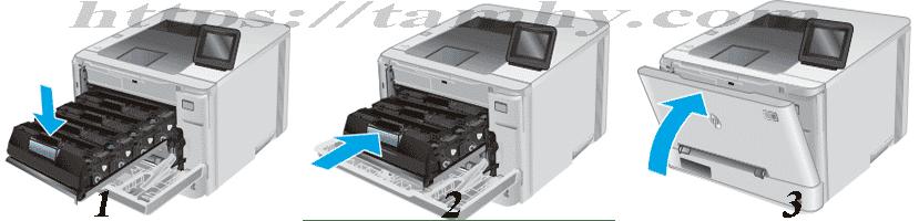 Hướng dẫn Cách thay Hộp Mực in laser màu Hp 201A CF401 Cyan