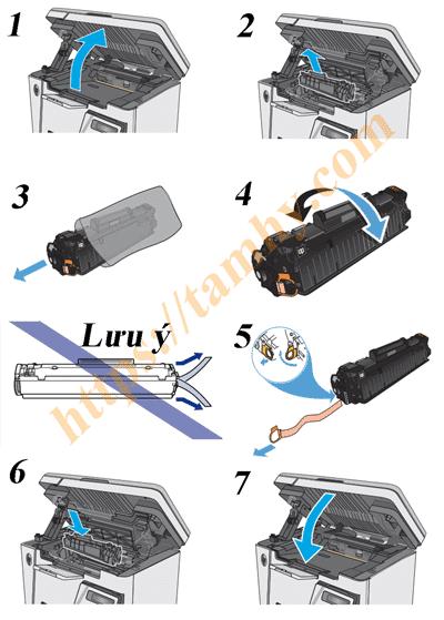Cách thay thế hộp mực in 79a thương hiệu